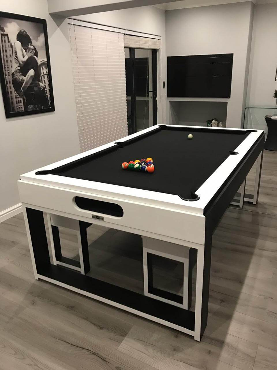 Marvelous Designer Custom White Home Pool Table With Matching Top And Benches Pdpeps Interior Chair Design Pdpepsorg